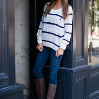 Holey Moley Sweater, Ivory/Navy