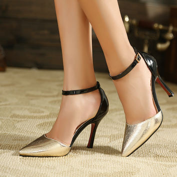 Design Stylish Summer Korean Mosaic High Heel Pointed Toe Shoes Sexy Sandals [6044927489]