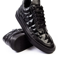 Filling Pieces Low Top Lingotto Black Leather Sneaker