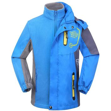 SAGUARO Children's Jacket for Boys Girls 3in1 Removable Thicken Outwears 2017 Waterproof Windproof Hooded Kids Winter Jacket
