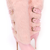 Light Pink Mid Calf Strappy Boots Faux Fur Leather