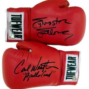 CREYONY Carl Weathers & Sylvester Stallone Signed Autographed Tuf Wear Red Boxing Gloves (ASI COA)