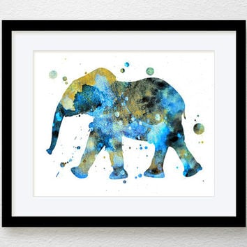 Elephant Art, Watercolor Elephant, Elephant Painting, Baby Boy Nursery, Kids Room Decor, Nursery Wall Art, Elephant Poster, Blue Elephant