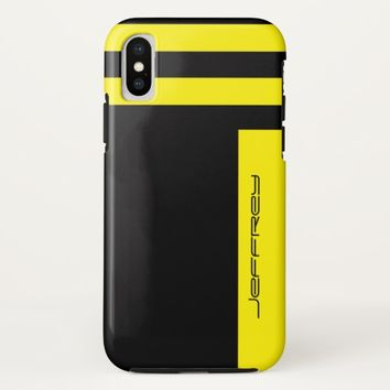 Yellow & Black Two Way Stripe Custom Name Tough iPhone X Case