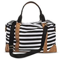 Women's Striped Canvas Weekender Handbag - Black/White
