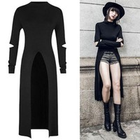 2018 Women'S Summer Punk Gothic Long Sleeve Bodycon Sexy Hole Pour V Dress