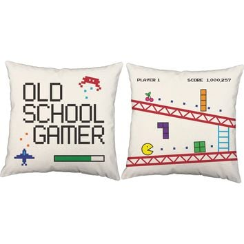 Old School Gamer Video Game Throw Pillows