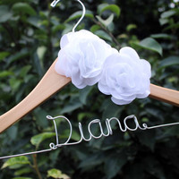 hanger with flower, flower bridal hanger, flower hanger, Bridal hanger with coral flower, coral flower hanger, bride hanger