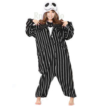 KIGURUMI Cosplay Romper Charactor animal Hooded Night clothes Pajamas Pyjamas Costume sloth outfit Sleepwear  Jack Skellington