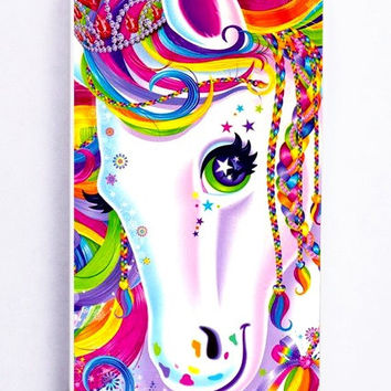 iPhone 5S Case - Hard (PC) Cover with Lisa Frank Majesty The Rainbow Horse Plastic Case Design