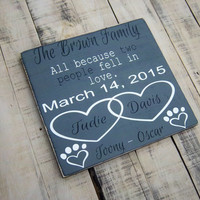 All because two people fell in love-Rustic, Hand Painted Wood Sign, Wedding Gift/Anniversary Gift