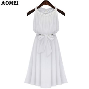 Summer Casual Sundress with Sashes Dresses White color Chiffon Women Elegant Pleated Gown Midi Ruffles Fashion