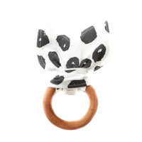 Wooden Baby Teether in Black Dots