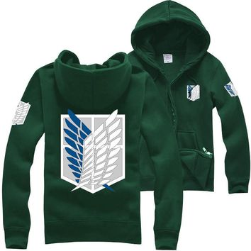 New Anime Attack on Titan Costumes Hoodie Green Black Scouting Legion Hooded for Unisex Cosplay