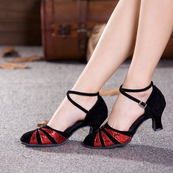 Hot Sell Tango Salsa Ballroom Women Latin Dance Shoes Heeled 3.5/5.5/7cm Dancewear Dancing Shoes For Ladies