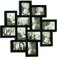 Adeco [PF0206] Decorative Black Wood Wall Hanging Collage Picture Photo Frame, 12 Openings, 4x6""
