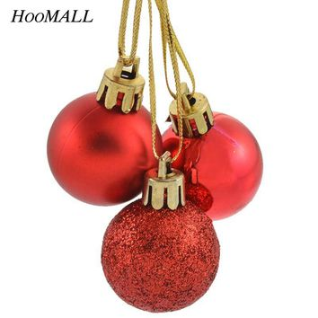 Hoomall 24PCs Christmas Tree Ball Baubles Christmas Decorations For Home Navidad New Year Party Wedding Hanging Ornament 3CM