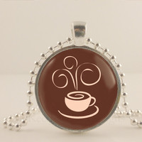 """Steam, Coffee cup, brown, 1"""" glass and metal Pendant necklace Jewelry."""