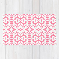 Pink Retro Rug by Lisa Argyropoulos