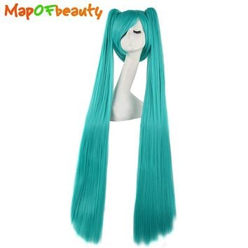 """MapofBeauty 47""""120cm Long straight Synthetic hair Blue Color 2 Clip On Ponytail Heat Resistent Cosplay Wigs Free shipping"""