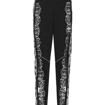 Lace-trimmed cotton trackpants