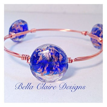 Cobalt Blue and Copper Glass Beads Wire Wrapped Bracelet, Azule Bracelet, Cobalt Bangle Bracelet, Stackable Bracelet, Blue Bauble Bracelet,