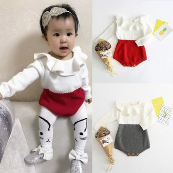 MUQGEW baby clothes newborn christmas baby girl clothes Knitted Sweater baby suit Winter Princess Romper Jumpsuit Clothes