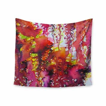 "Ebi Emporium ""The Perfect Storm"" Red Pink Painting Wall Tapestry"