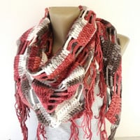 pink brown crocheted scarf ,women scarves ,shawl scarves ,cowl ,neckwarmer ,spring winter fashion accessories , gift ideas