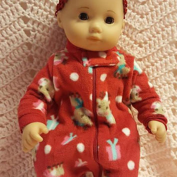 "15 inch Baby doll outfit ""Many Mini Reindeer"" Will fit Bitty Baby® Bitty Twins®  sleeper headband fleece G10"