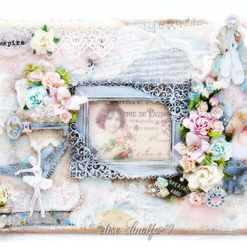 Mixed Media Canvas Altered Art Photo Frame Scrapbook Ballerina Flowers & Lace 12 x 9 inches by Elise Dinolfo