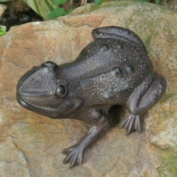 Rustic Cast Iron Frog Stepping Stone - Garden Accent