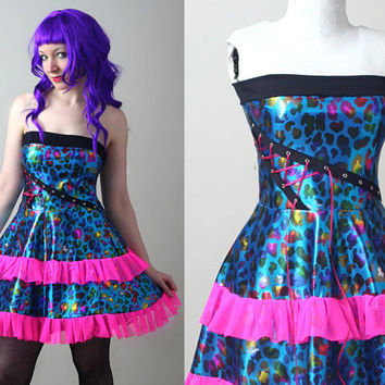 rainbow sparkle leopard print punk prom dress  by smarmyclothes