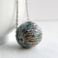 Large Ball Necklace with Multicolor Zebra Print in Silver - Long Necklace - Trendy Jewelry