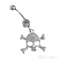Skull Crossbone Dangle Belly Button Navel Rings Body Fashion Jewelry 14 Gauge = 1929668868