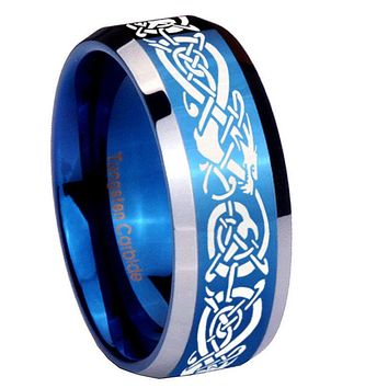 10mm Celtic Knot Dragon Beveled Edges Blue 2 Tone Tungsten Wedding Band Ring
