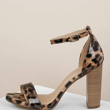 Patent Leopard Buckled Ankle Stacked Heel Sandals