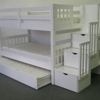 Bedz King Twin Over Twin Stairway Bunk Bed with Twin Trundle, White