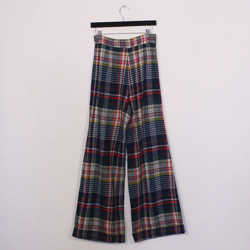 vintage 70s high waisted wide leg plaid pants / wool / flare bell bottoms