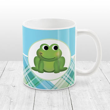 Frog Plaid Pattern Mug - Green Blue Plaid Pattern cute Happy Frog - 11oz or 15oz Frog Mug - Made to Order