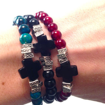 Beaded Stretch Bracelet with Black Cross
