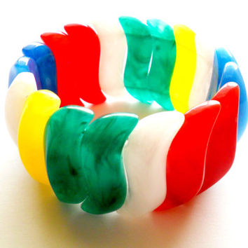 Vintage Avon Stretch Bracelet Marbled Acrylic Bright Colorful Summer Time Primary Red Green Yellow Blue S Shaped Signed Marked
