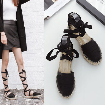 2017 Gladiator Sandals Women Ladies Shoes Espadrilles Flat Heels Fashion Designer Platform Sandals Womens Beach Lace Up Shoes