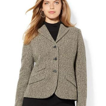 Lauren Ralph Lauren Plus Leather Trim Wool Blend Jacket