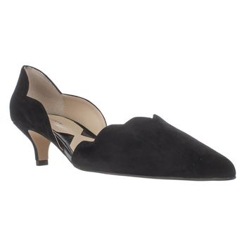 Adrienne Vittadini Serene Scallopped Kitten Pumps, Black, 7 US