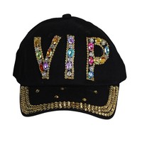Unisex Bling Rhinestone VIP Studded Bedazzled Denim Baseball Style Fashion Cap Hat