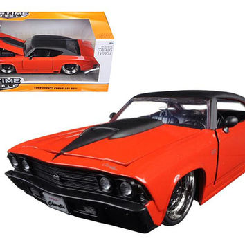 1969 Chevrolet Chevelle SS Orange With Matte Black Top and Hood Scoop 1-24 Diecast Model Car by Jada