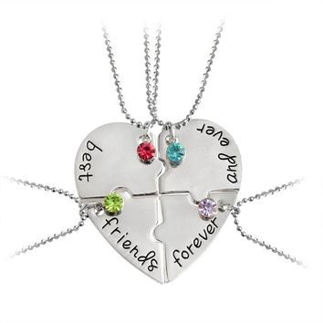 """4pcs/set """"best friends forever and ever"""" Pendant Necklaces Heart Shaped Color Rhinestone Friendship BFF Creative Girls Keepsake"""
