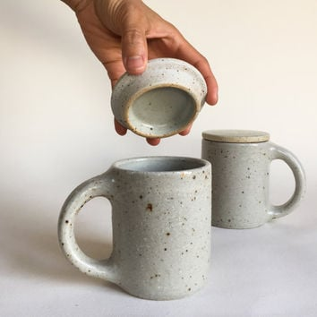 LIDDED MUG White Speckled 12 oz, ceramic, pottery, handmade, coffee, tea, hot, cocoa, chocolate, milk, water, chai, latte, juice, beer