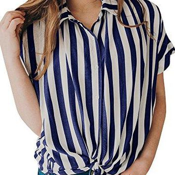 SySea Womens Striped Button up Knot Front Shirt Summer Turndown Collar Short Sleeve Blouses